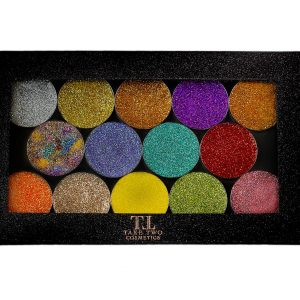 14 pressed glitter pans with magnetic case